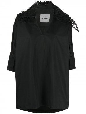 Блузка с воротником асимметричного кроя Jil Sander. Цвет: черный