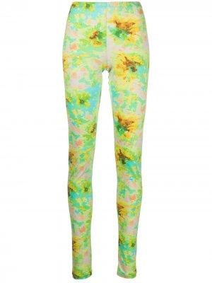 Легинсы с цветочным принтом MSGM. Цвет: зеленый