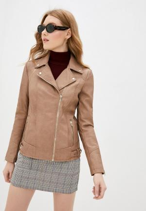 Куртка кожаная Wallis. Цвет: бежевый