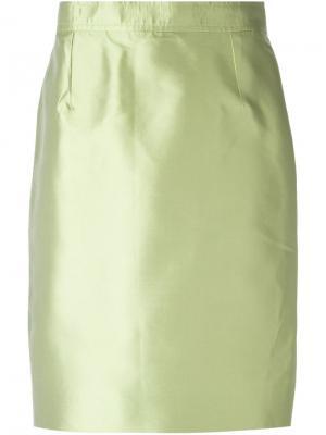 Классическая юбка-карандаш Christian Lacroix Vintage. Цвет: зеленый