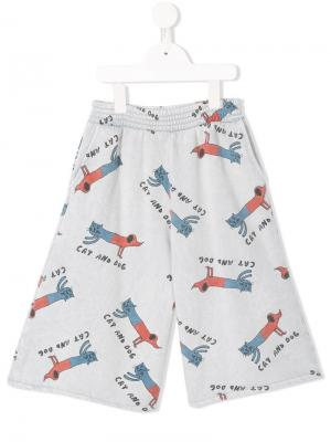 Cat & Dog print shorts Bobo Choses. Цвет: синий