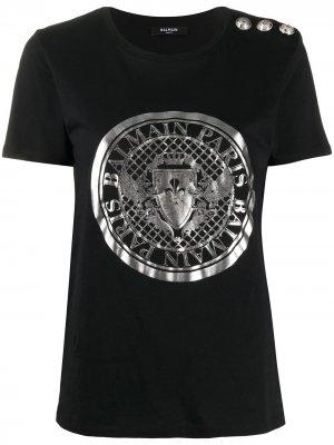 Футболка с логотипом Coin Balmain. Цвет: черный