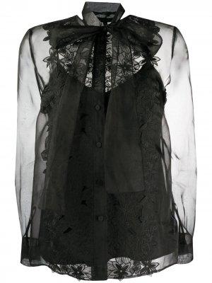 Полупрозрачная блузка с цветочной вышивкой Escada. Цвет: черный
