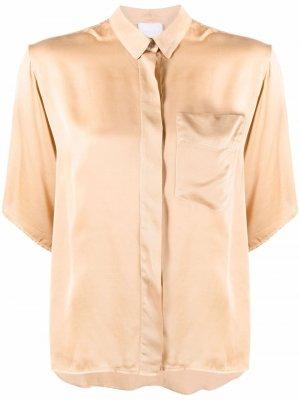 Рубашка с нагрудным карманом и короткими рукавами Merci. Цвет: золотистый