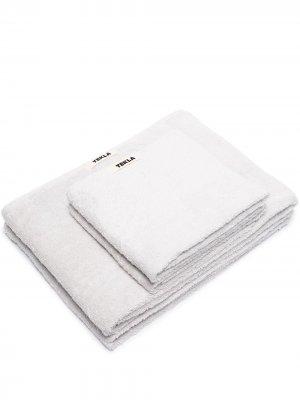 Набор из двух махровых полотенец TEKLA. Цвет: серый