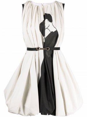 Двухцветное платье мини Ports 1961. Цвет: белый