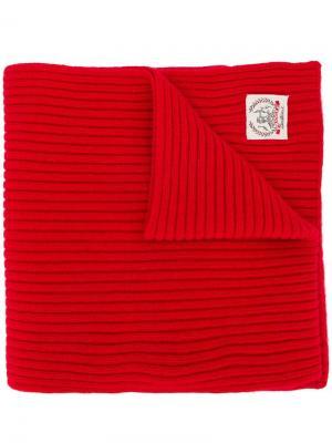 Кашемировый шарф в рубчик с логотипом Pringle of Scotland. Цвет: красный