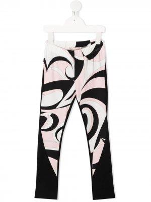 Легинсы с графичным принтом в стиле колор-блок Emilio Pucci Junior. Цвет: черный