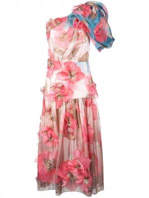 Платье на одно плечо с цветочным декором Peter Pilotto. Цвет: розовый