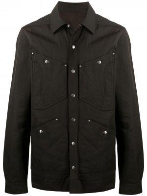 Куртка-рубашка с карманами Rick Owens. Цвет: коричневый