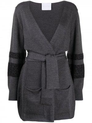 Пальто-кардиган с поясом Antonella Rizza. Цвет: серый