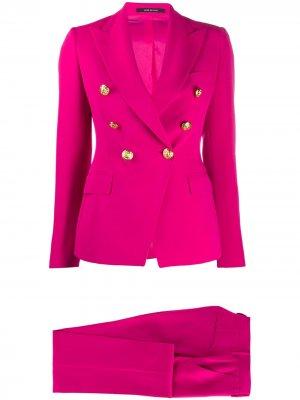 Костюм с двубортным пиджаком и брюками Tagliatore. Цвет: розовый