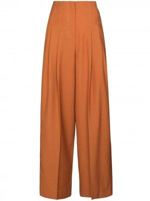 Расклешенные брюки с завышенной талией LVIR. Цвет: оранжевый