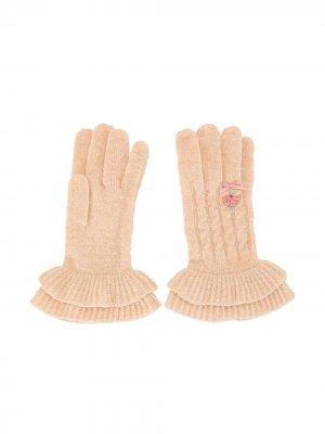 Перчатки с вышивкой и расклешенными манжетами Familiar. Цвет: розовый