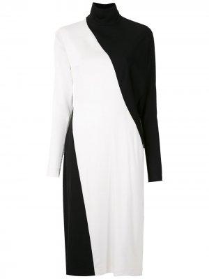 Двухцветное платье миди Gloria Coelho. Цвет: черный
