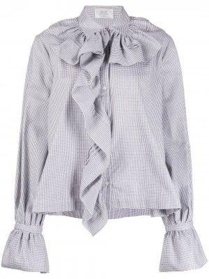Блузка в ломаную клетку с оборками Victoria Beckham. Цвет: белый