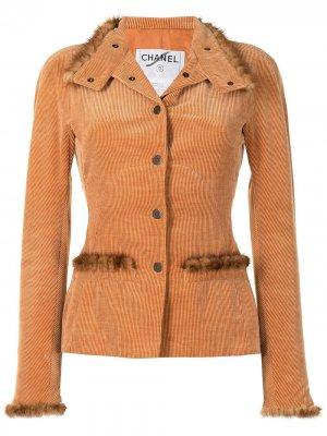 Вельветовая куртка Chanel Pre-Owned. Цвет: оранжевый