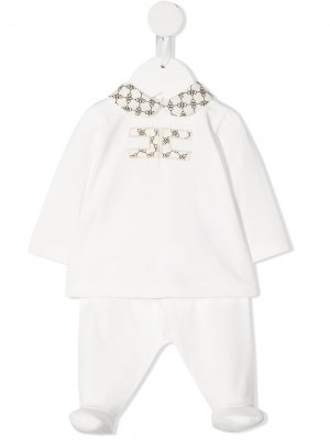 Пижама с логотипом Elisabetta Franchi La Mia Bambina. Цвет: белый