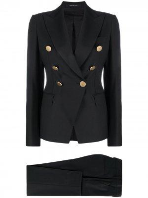 Костюм с двубортным пиджаком Tagliatore. Цвет: черный