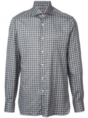 Клетчатая рубашка Isaia. Цвет: серый