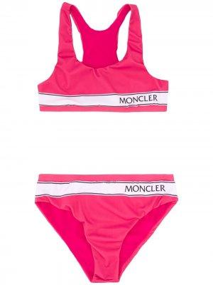 Бикини с логотипом Moncler Kids. Цвет: розовый