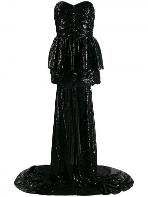 Платье с пайетками и кейпом The Attico. Цвет: черный