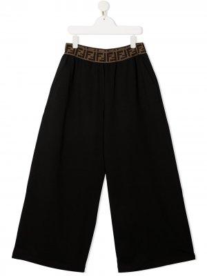 Широкие брюки Fendi Kids. Цвет: черный
