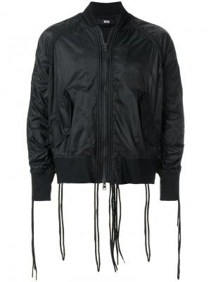 Куртка-бомбер с декоративными шнурками KTZ. Цвет: черный