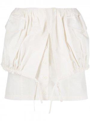 Юбка мини La Jupe Cueillette Courte Jacquemus. Цвет: белый