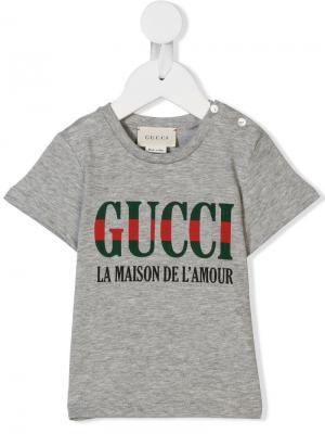 Футболка с принтом La Maison De Lamour Gucci Kids. Цвет: серый