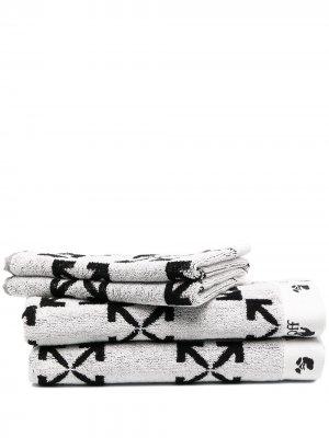 Комплект из двух полотенец с логотипом Arrows Off-White. Цвет: черный