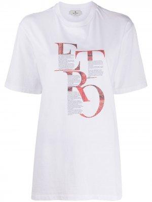 Удлиненная футболка с графичным принтом Etro. Цвет: белый