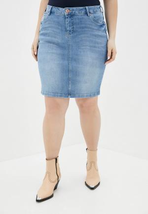 Юбка джинсовая Zizzi. Цвет: голубой