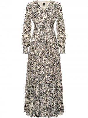 Платье с поясом и принтом пейсли Pinko. Цвет: нейтральные цвета
