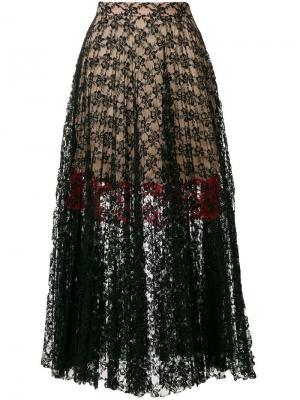Плиссированная кружевная юбка Christopher Kane. Цвет: черный