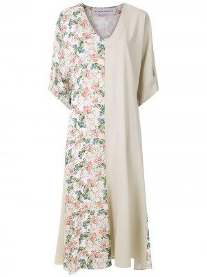 Платье миди асимметричного кроя Gloria Coelho. Цвет: нейтральные цвета