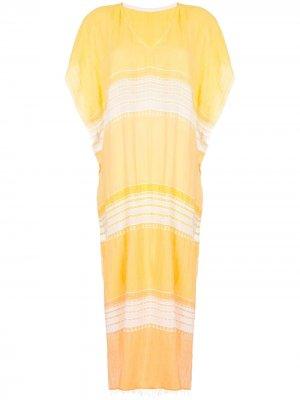 Пляжное платье в полоску с эффектом градиента lemlem. Цвет: желтый