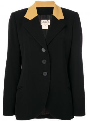Жакет с контрастным воротником Hermès Vintage. Цвет: черный