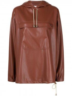 Куртка Arno из искусственной кожи с капюшоном Nanushka. Цвет: коричневый