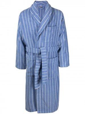 Полосатый халат из органического хлопка TEKLA. Цвет: синий