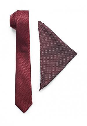 Комплект галстук и платок Burton Menswear London. Цвет: бордовый
