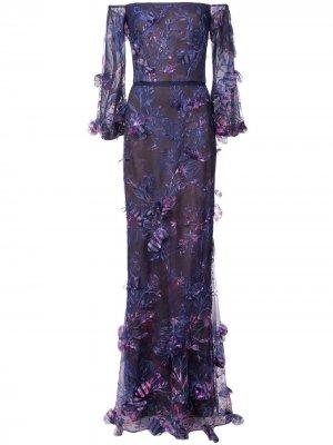 Платье с открытыми плечами и цветочным принтом Marchesa Notte. Цвет: синий