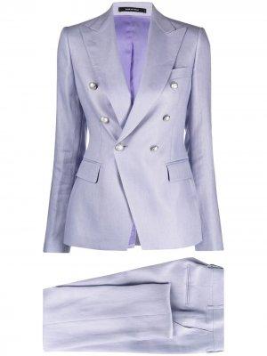 Костюм с двубортным пиджаком Tagliatore. Цвет: фиолетовый