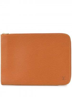 Фактурная папка для документов pre-owned Louis Vuitton. Цвет: коричневый