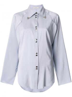 Рубашка с металлической отделкой на воротнике Nina Ricci. Цвет: серый