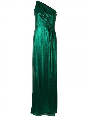 Платье на одно плечо с эффектом металлик Marchesa Notte. Цвет: зеленый