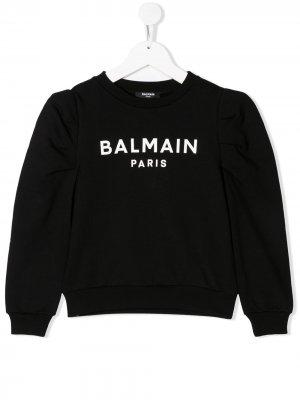 Толстовка с логотипом Balmain Kids. Цвет: черный