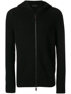 Rib knit zipped sweatshirt Iris Von Arnim. Цвет: черный