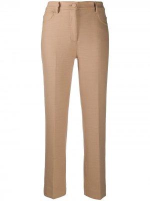 Прямые брюки с завышенной талией Theory. Цвет: коричневый