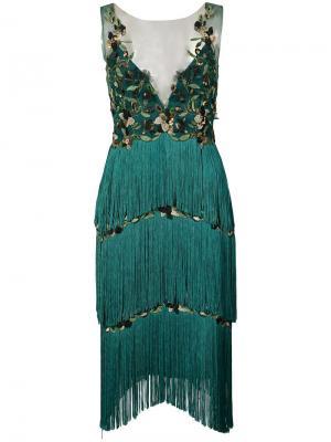 Платье с бахромой и аппликацией Marchesa Notte. Цвет: зеленый